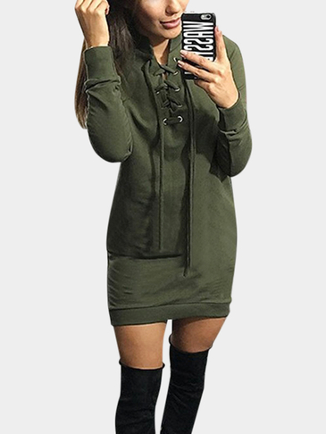Army Green Long Sleeves Lace-up Design Dresses