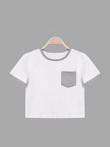 Contrast Round Neck Chest Pocket Basic T-shirt