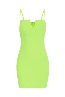 Fluorescent Green Sexy V-neck Bodycon Cami Dress