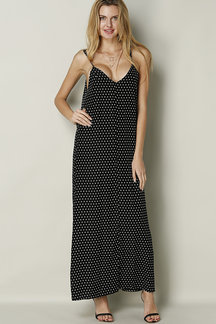 Black Chiffon Maxi Dress In White Wave Point Pattern