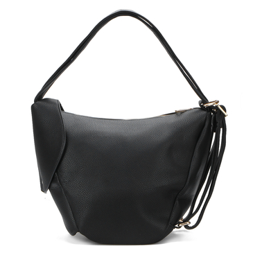 Black Zipper Front Pocket Shoulder Bag