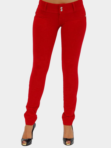Red Bodycon Botton Closure Fashion Leggings