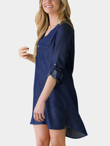 Denim Split Curved Hem Mini Dress