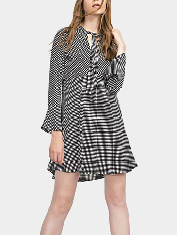 Wave Point Pattern Mini Dress with Self-tie Details