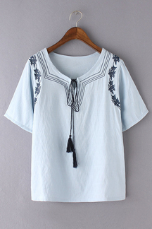 Loose Embroidery Design Short Sleeve Lace-up Tassel Details Blouse