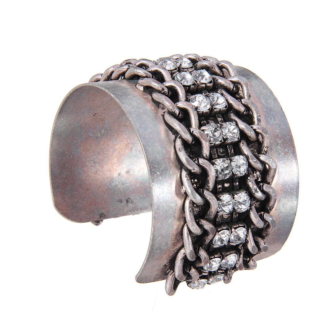 Grey Chain Cuff with Rhinestone Detail от Yoins.com INT