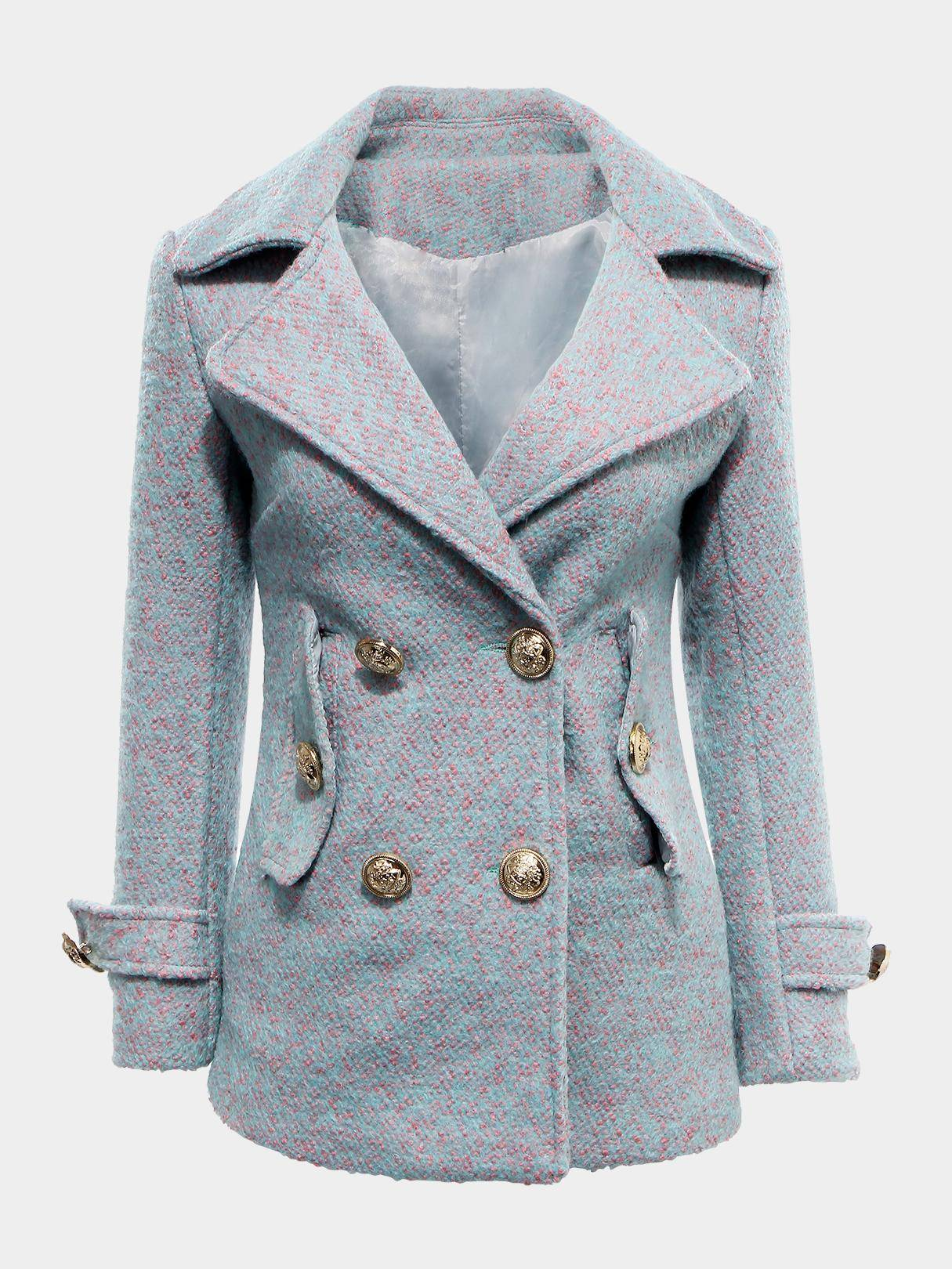 Double-breasted Longline Wool Coat от Yoins.com INT