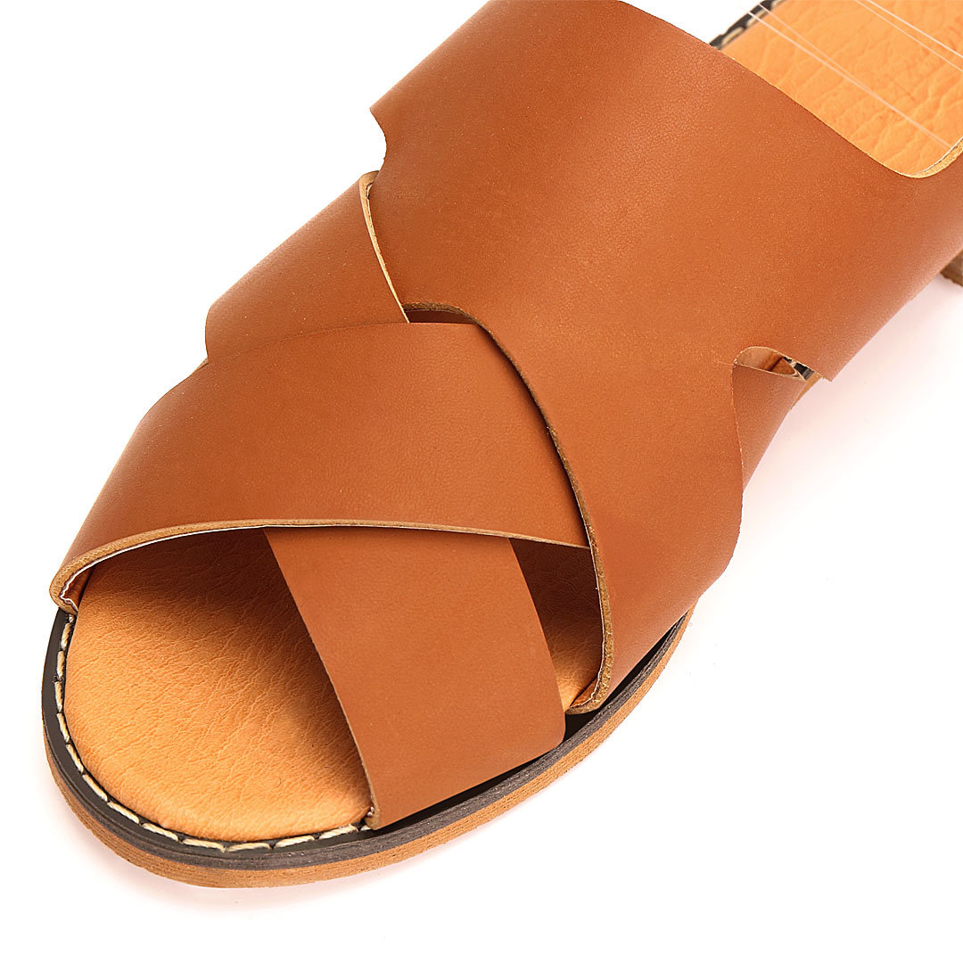 Cross Strap Leather Flat Sandals от Yoins.com INT