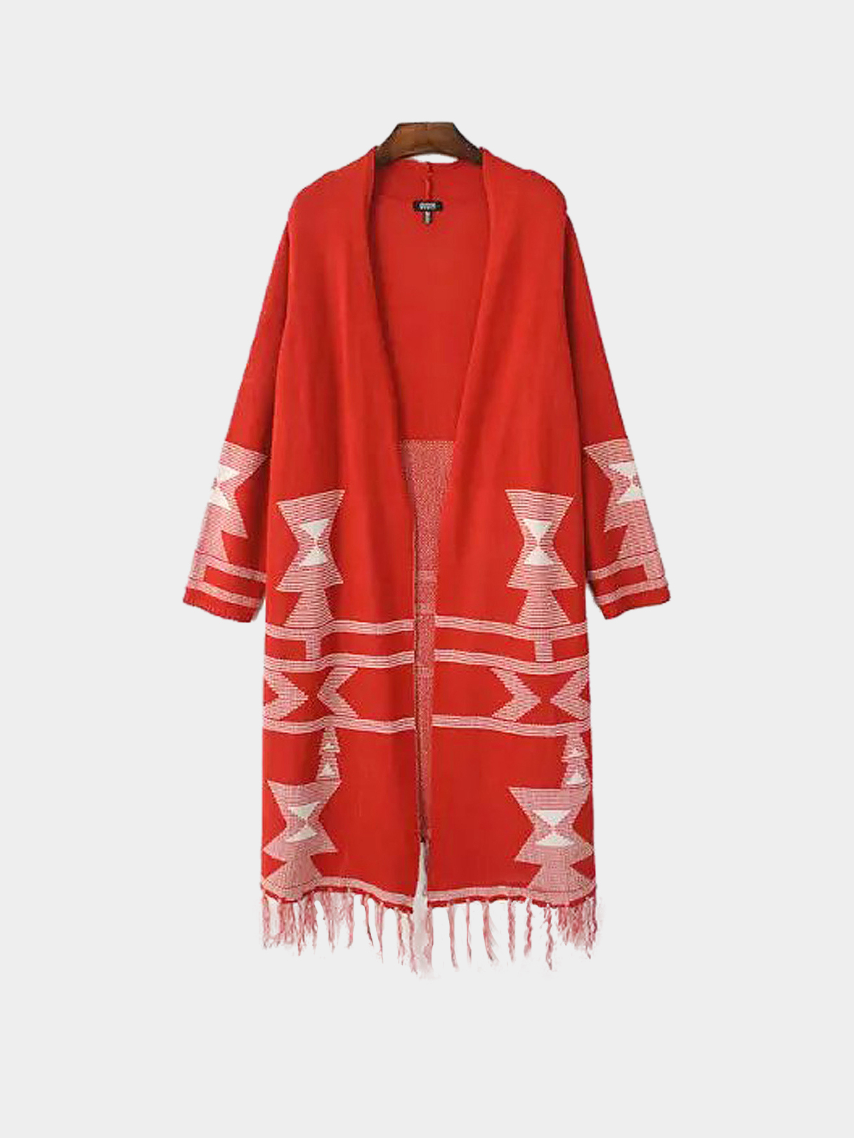 Red Tribal Longline Cardigan with Tassel Hem от Yoins.com INT