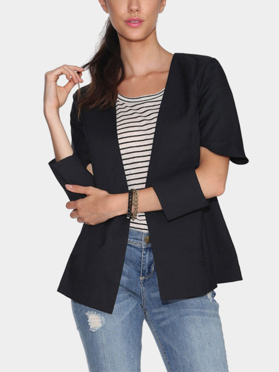 Black Cut Out 3/4 Length Sleeves Open Front Blazer
