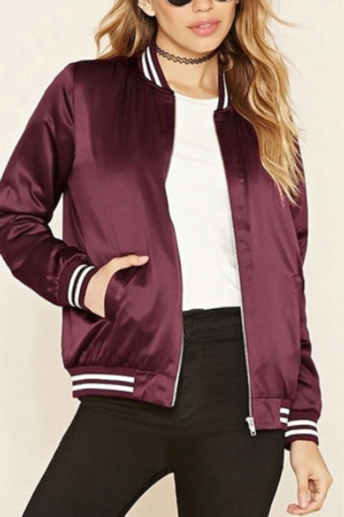 Burgundy Fashion Bomber Jacket With Pockets