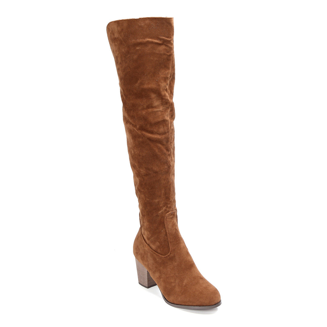 Brown Nubuck Leather Over The Knee Boots