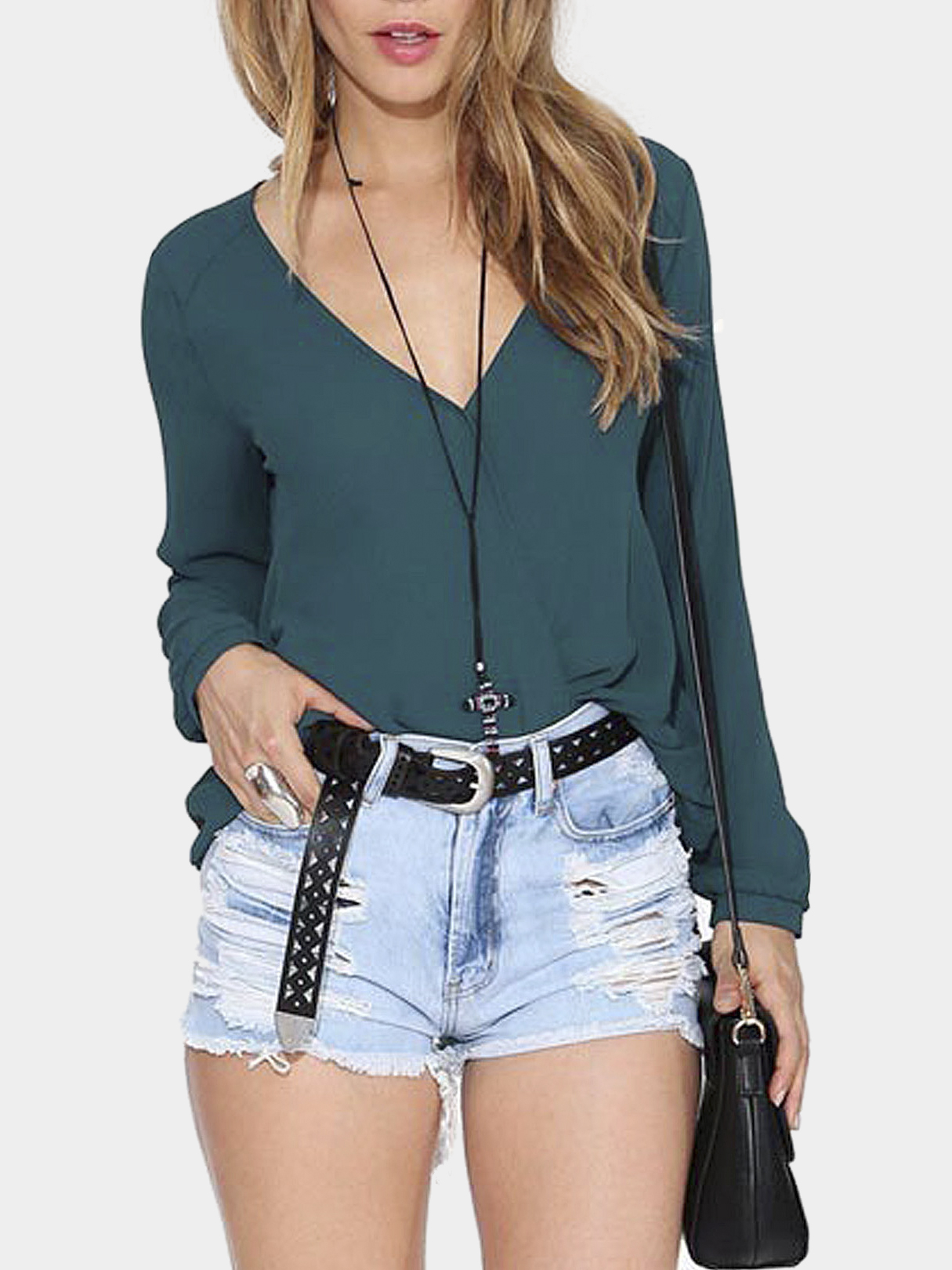 Dark Green V-neck Sheer Wrap T-Shirt