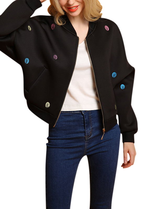 Black Fashion Embroidery Pattern Zipper Front Fastening Bomber Jacket