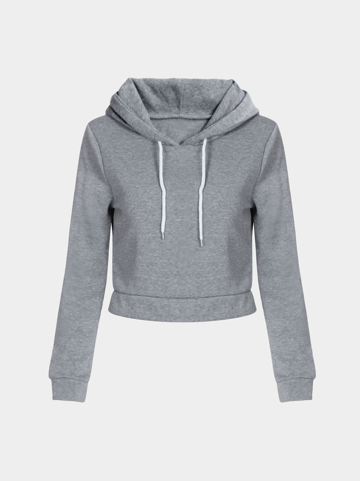 Light Grey Hooded Strappy Front Crop Sweatshirt