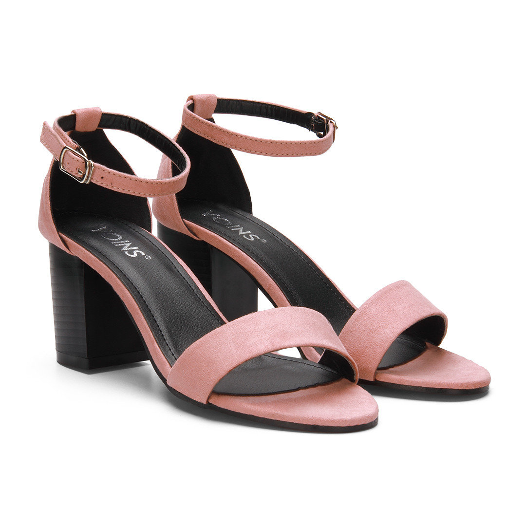 Pink Ankle Strap Peep Toe Chunky Heel Suede Sandals