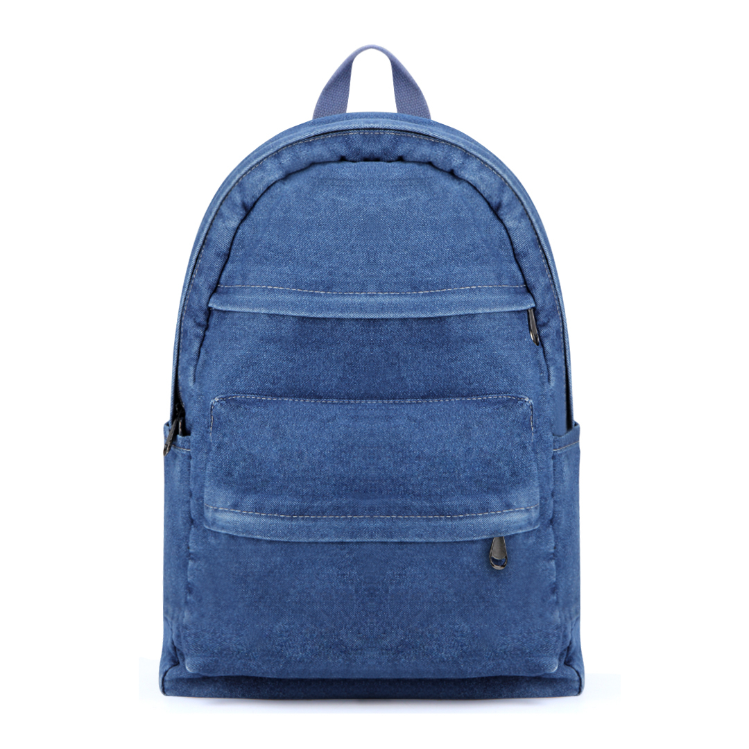 Two Front Zipper Pockets Denim Backpack in Blue