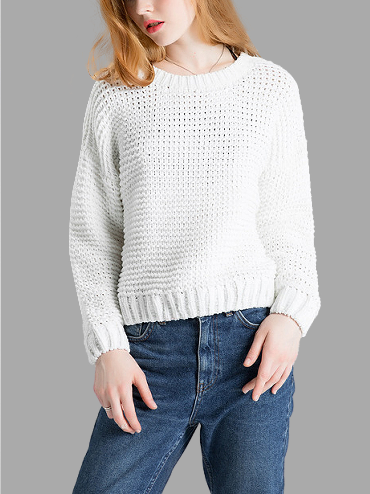 White Knitted Jumper with Crew Neck от Yoins.com INT