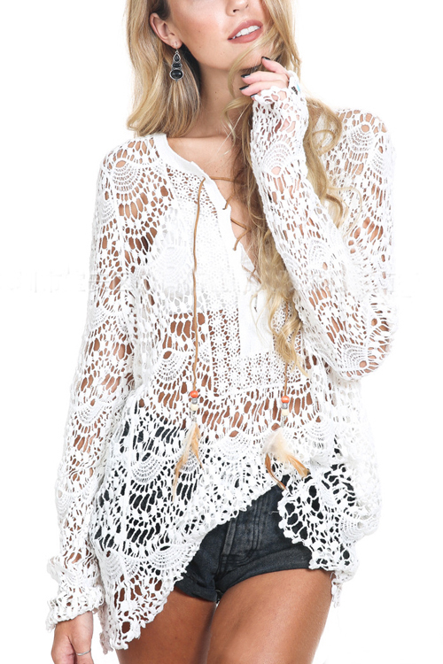 White Hollow Out Lace All Over Crossed Straps Front Long Sleeves Top