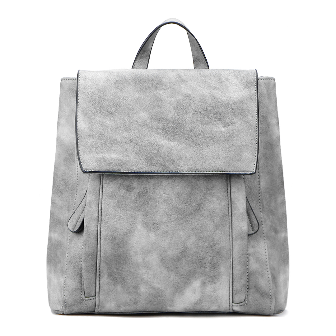 Grey Backpack with Two Front Pockets