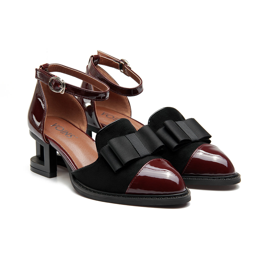 Burgundy Leather and Suede Look Ankle Strap Hollow Heel Bowknot Shoes