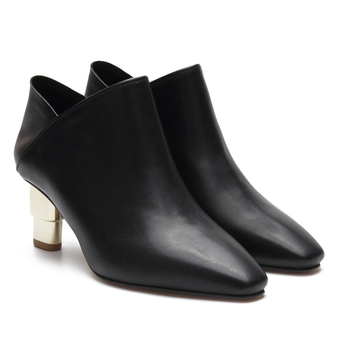Black Leather-look Ankle Boots with Golden heel