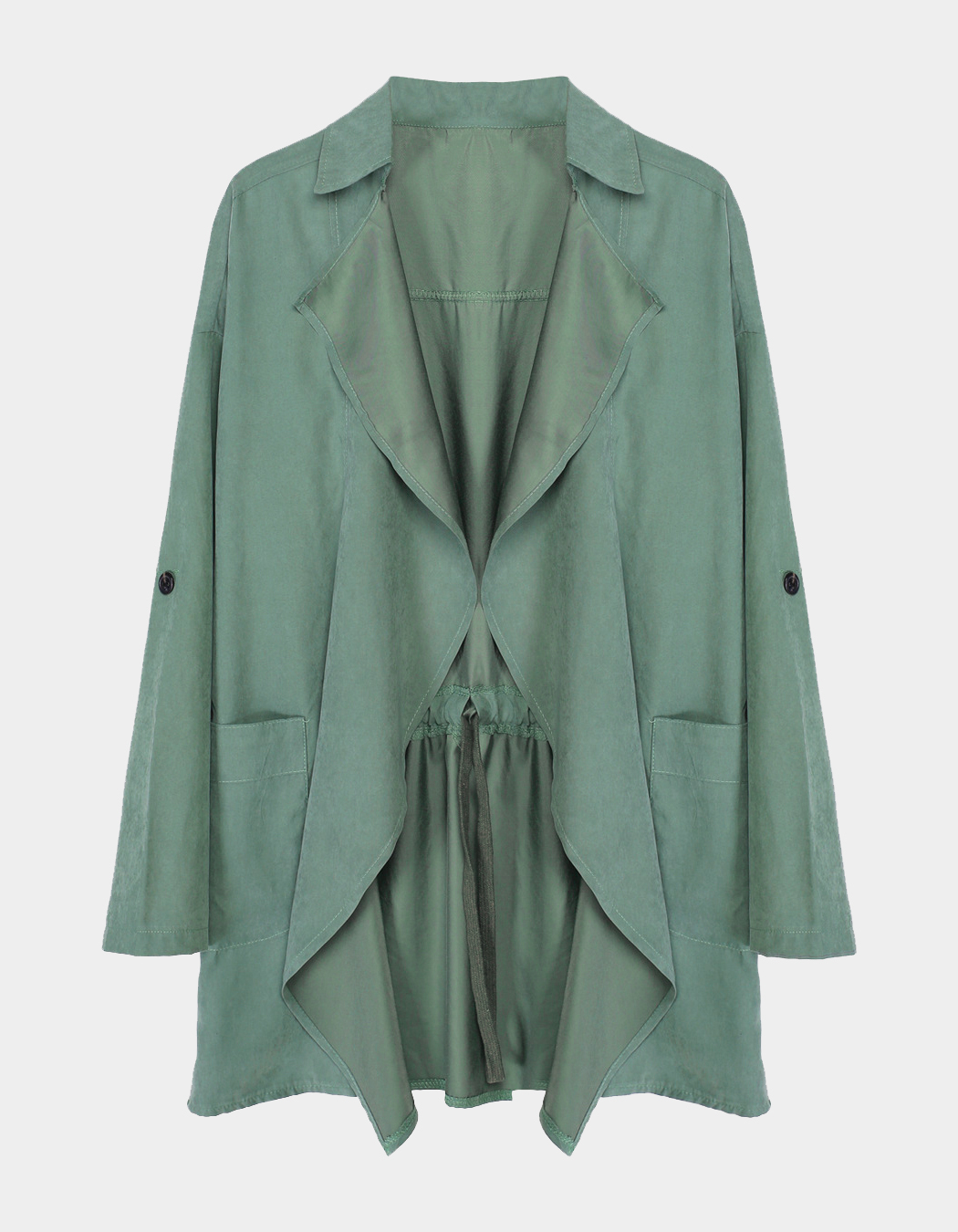 Green Casual Trench Outwear With Lapel Collar