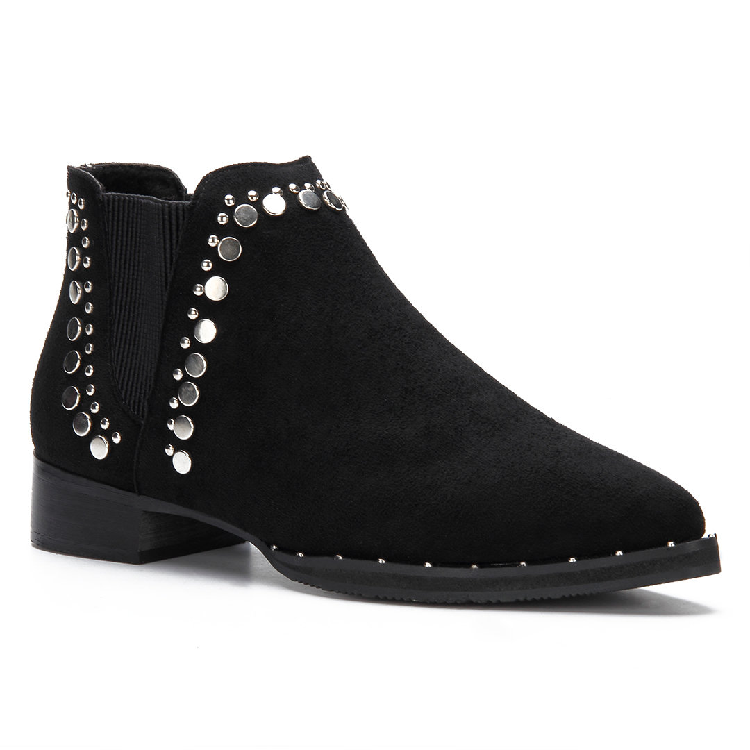 Black Studded Embellished Lace-up Pointed Toe Ankle Boots