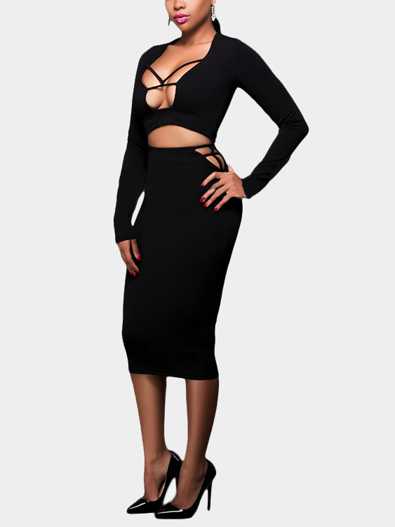 Black Sexy Bodycon Hollow Lace-up Front Design Back Zipper Suits