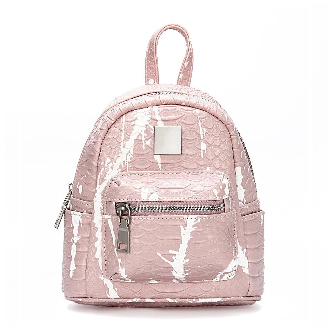 Pink Croc Leather-look Mini Backpack with Decorative Detailing
