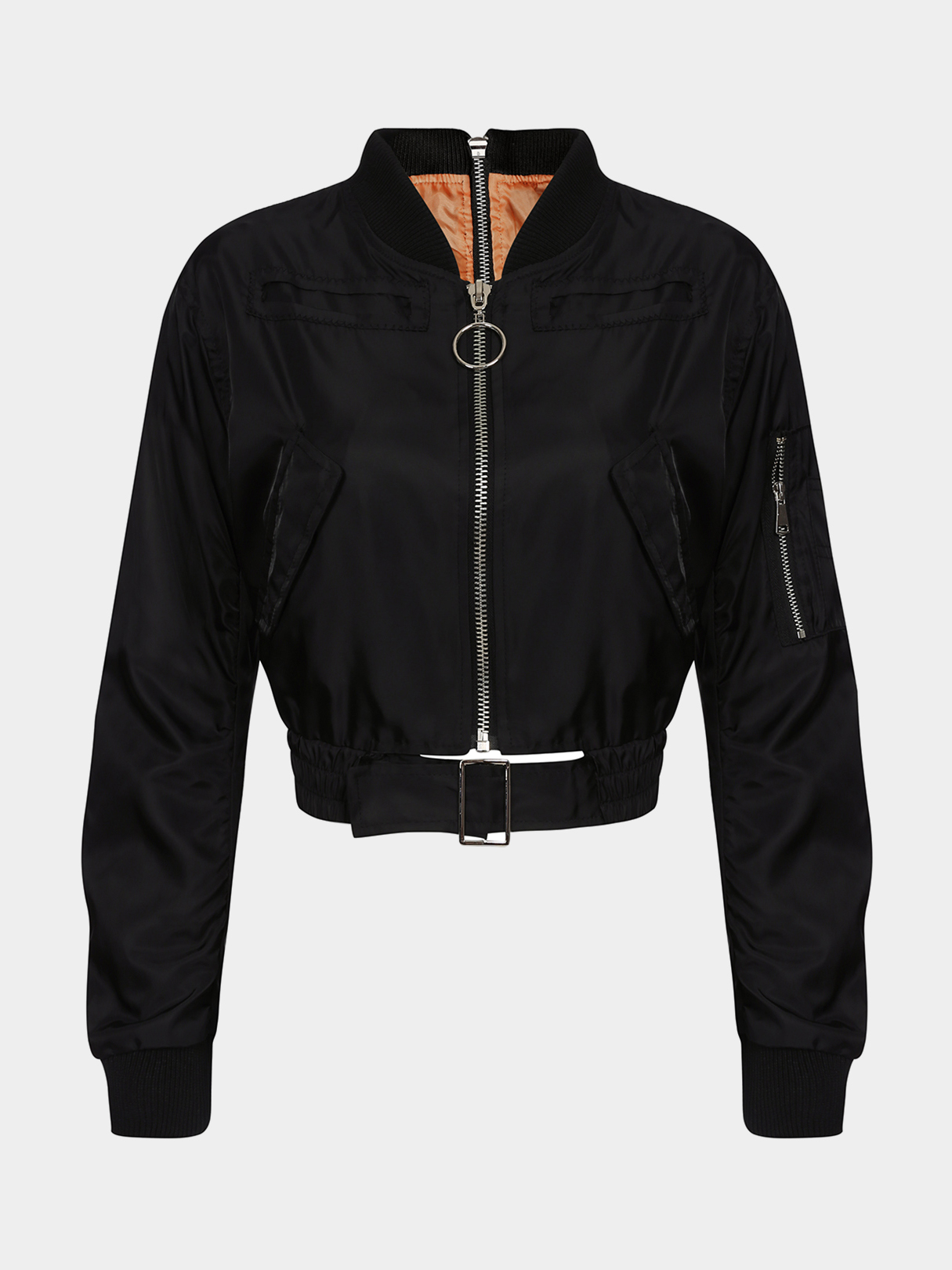 Black Zipper Front and Back Long Sleeves Side Pockets Jacket