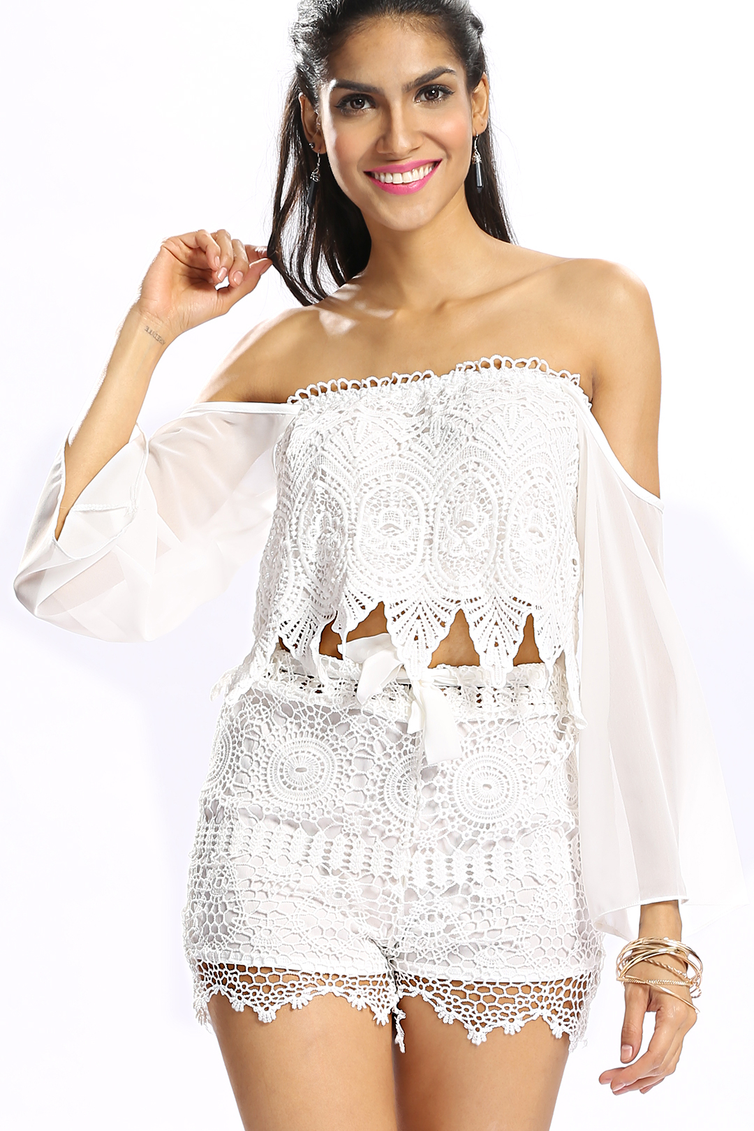 White Crochet Trim Lace All Over Stretch Waistband Tie Front Shorts