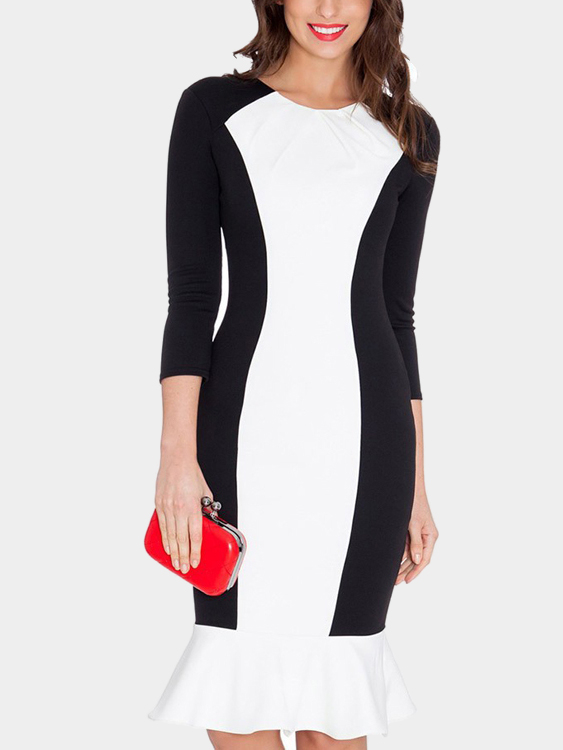 Long Sleeves Round Neck Stitching Bodycon Midi Dress
