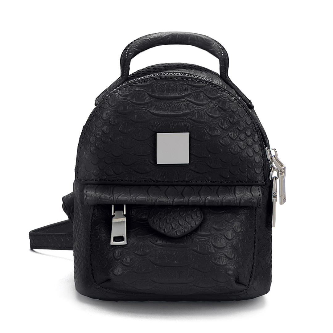 Snake Leather-look Mini Backpack in Black