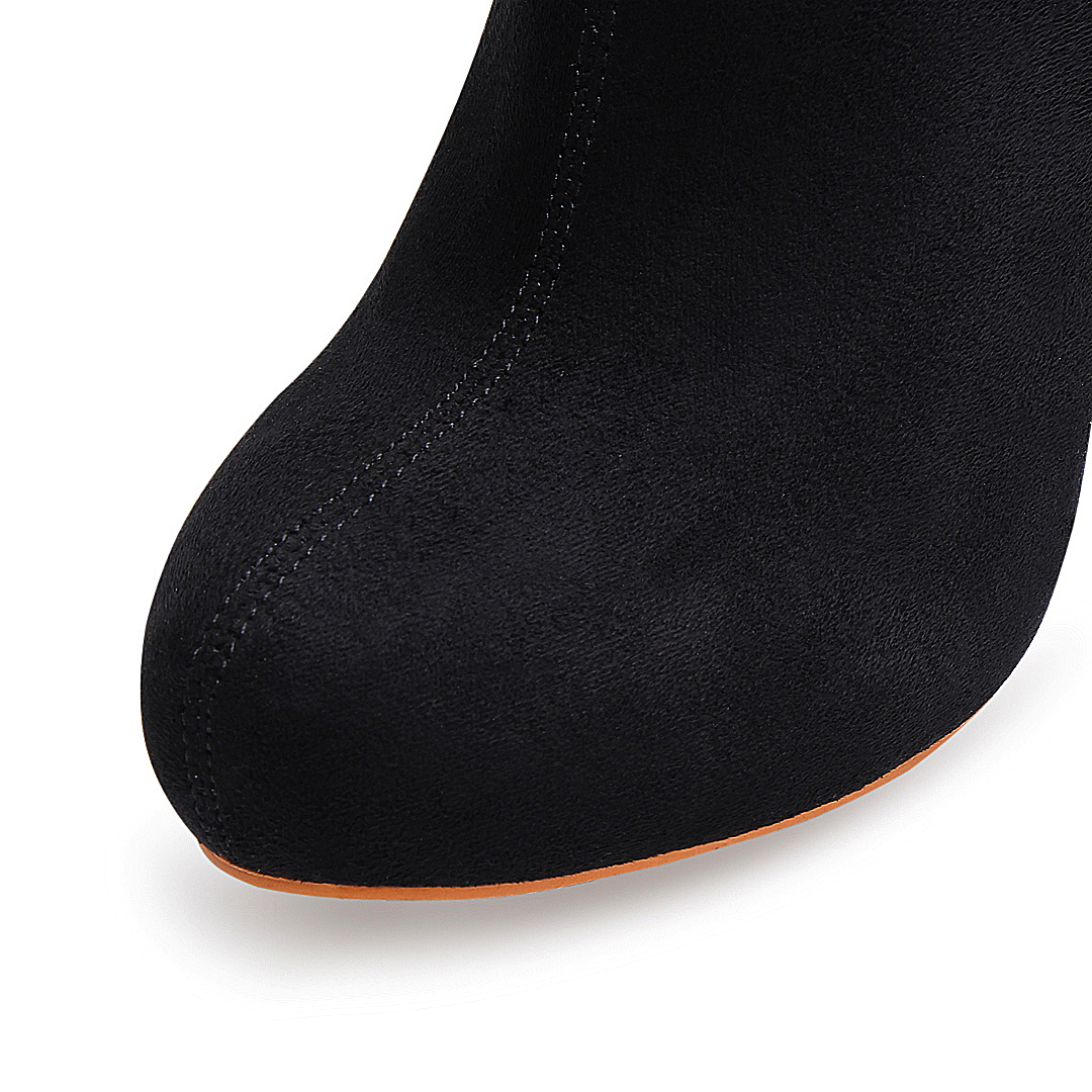 Suede Heeled Ankle Boots in Black от Yoins.com INT