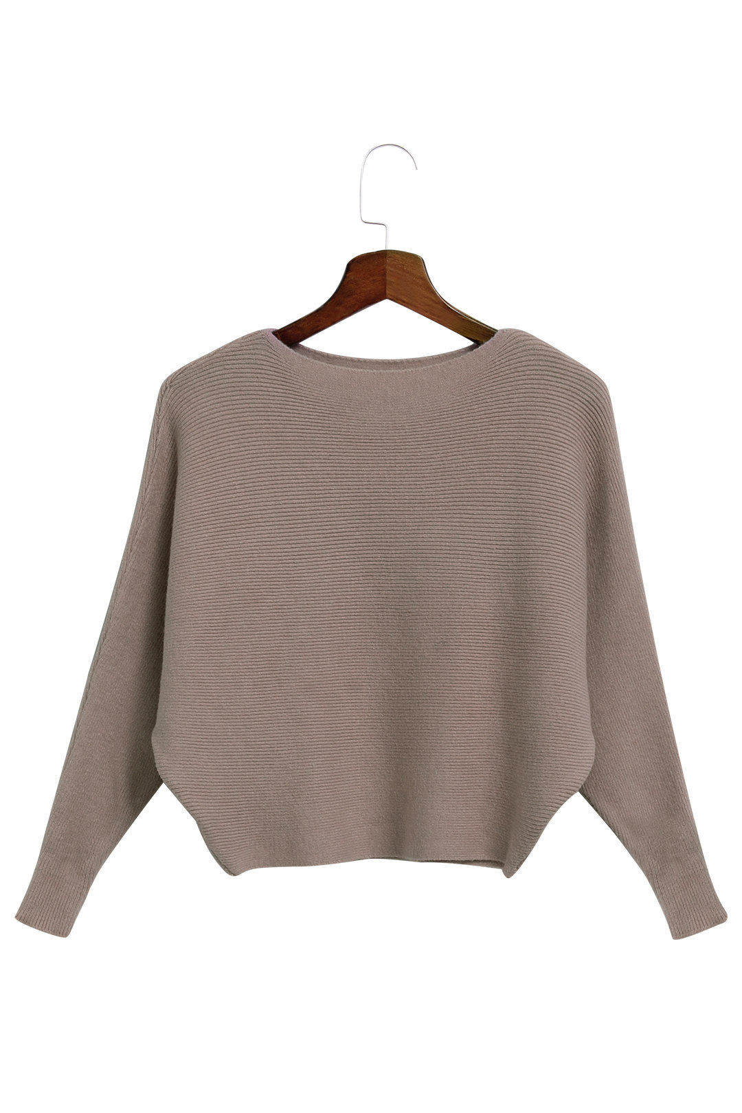 Khaki Sexy Pullover Bat Sleeves Loose Jumper