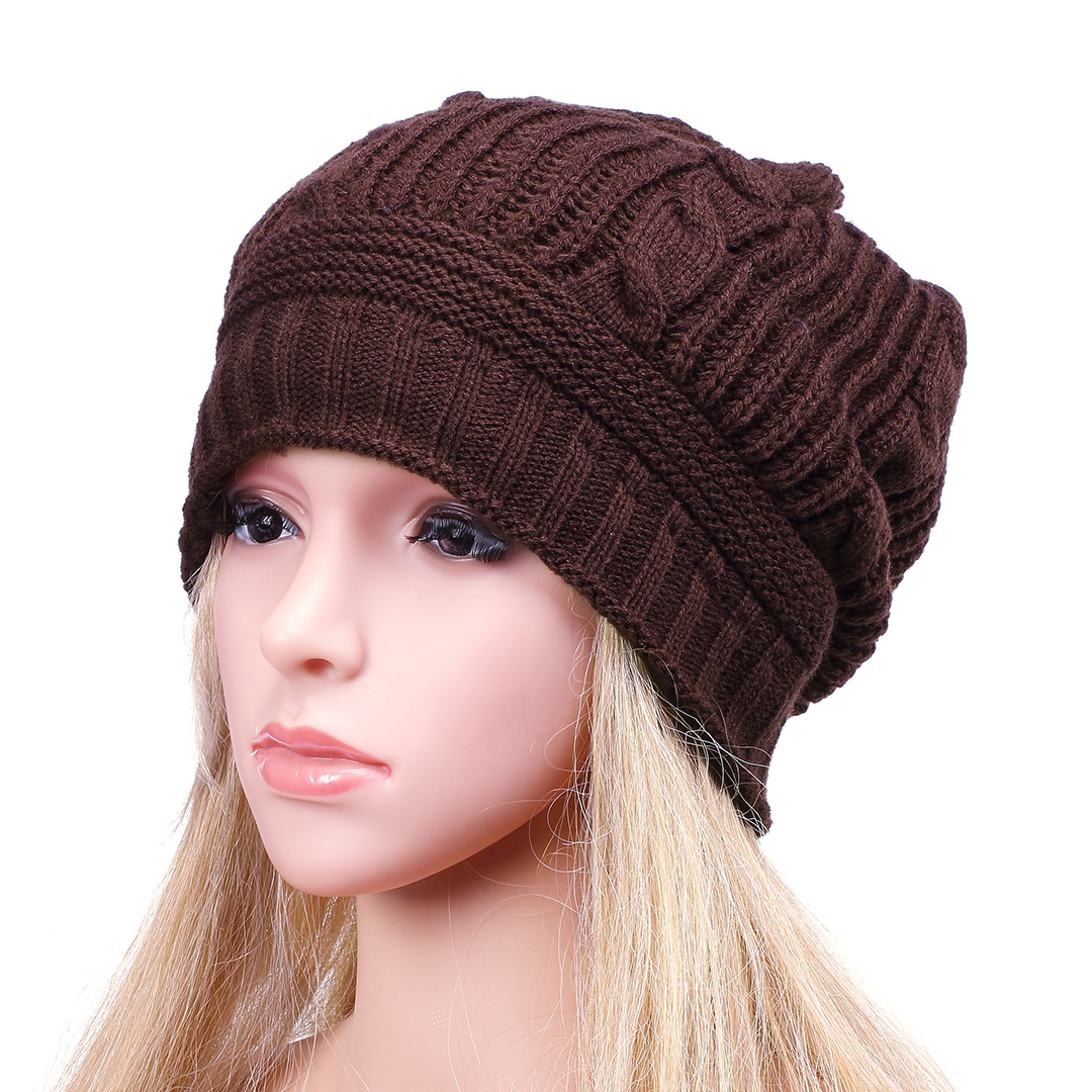 Coffee Casual Folded Design Knitted Hat