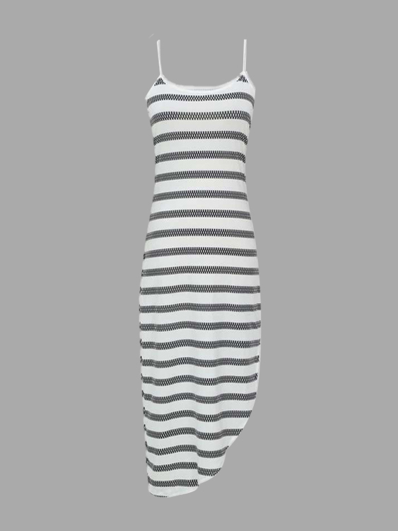 Stripe Pattern Irregular Splited Hem Cami Midi Dress