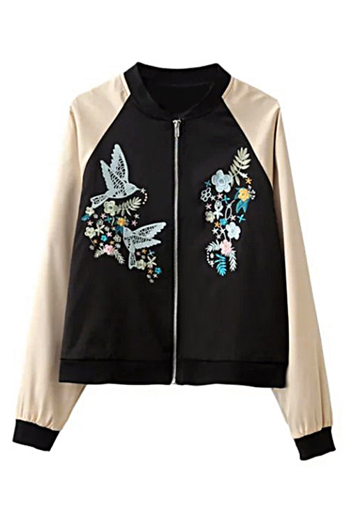 Embroidery Bird Pattern Zipper Front Bomber Jacket