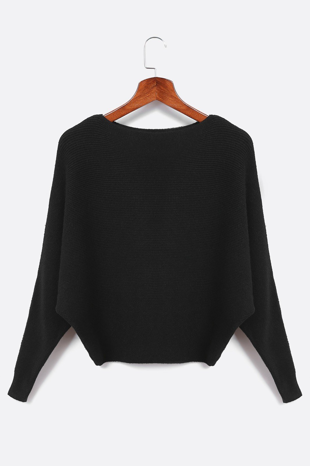 Black Sexy Pullover Bat Sleeves Loose Jumper