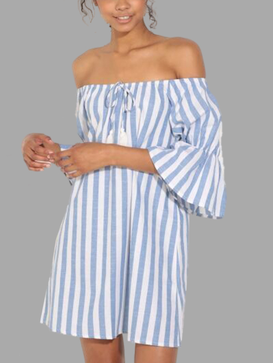Stripe Off shoulder H-line Mini Dresses
