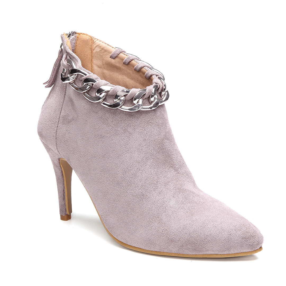 Grey Stiletto Short Boots with Chain Embellished
