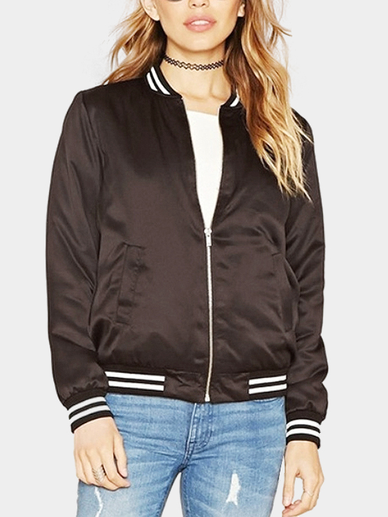 Brown Fashion Bomber Jacket With Pockets