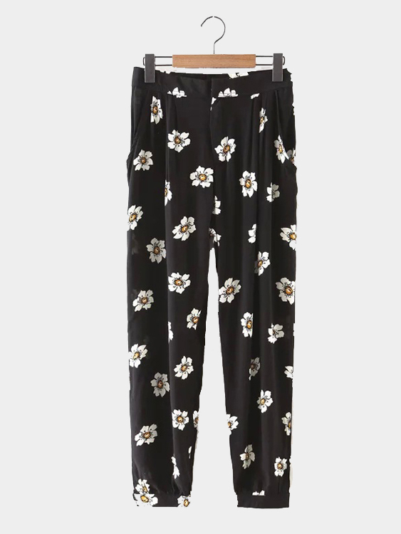Black Floral Print Trousers
