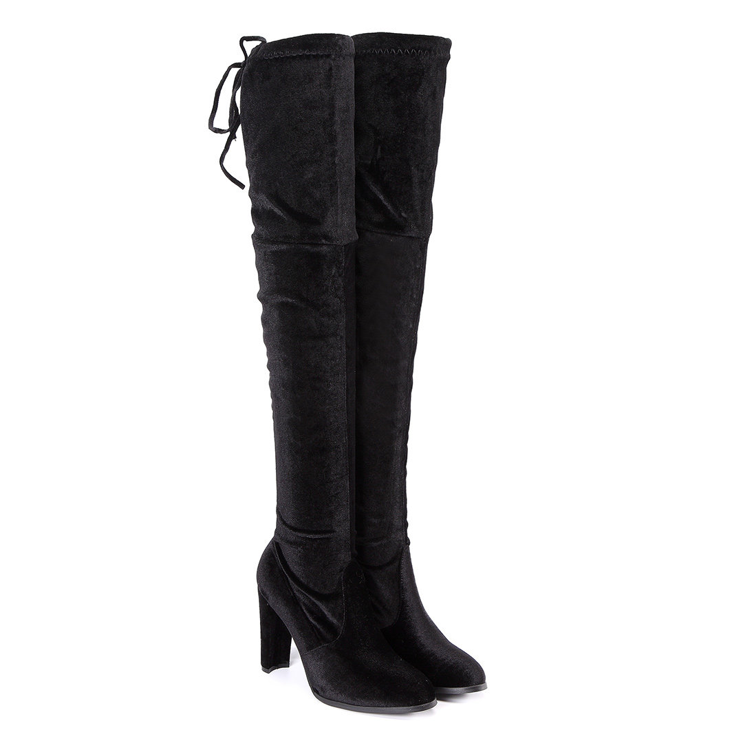 Black Chunky Heels Lace-up Over The Knee Boots
