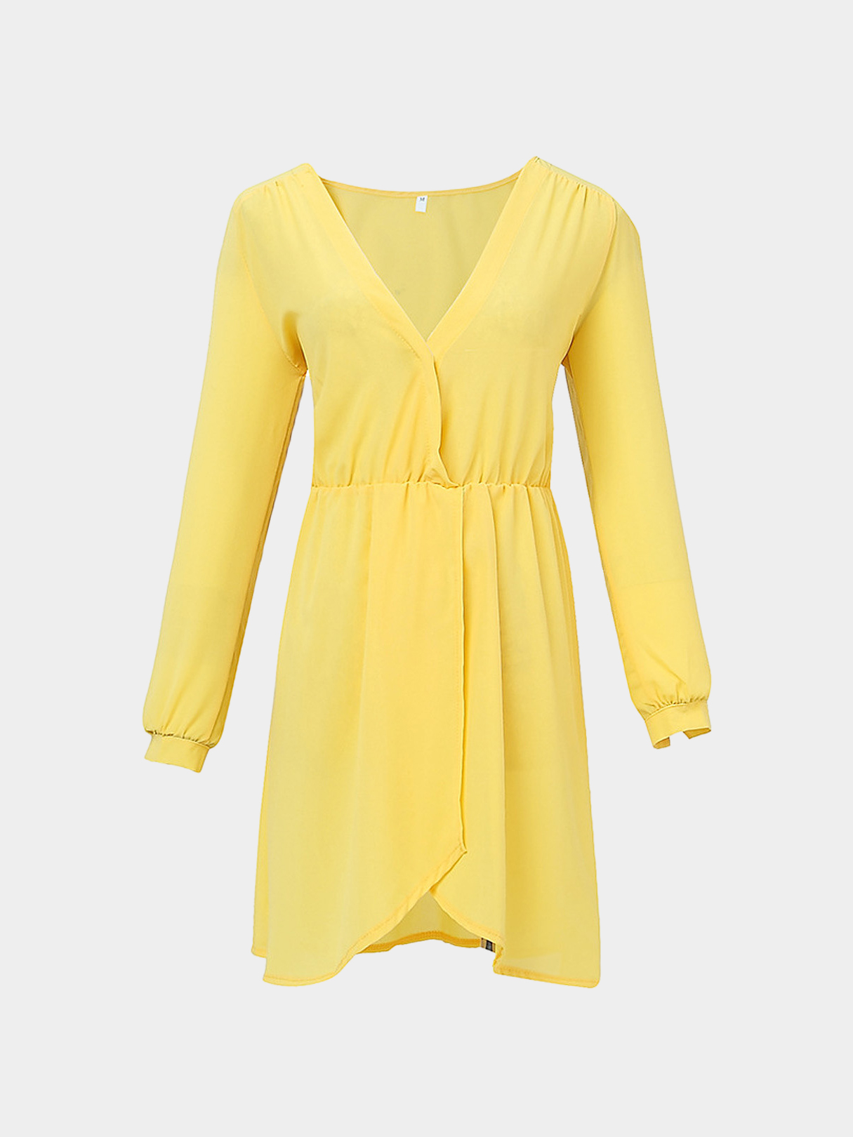 Yellow V Neck Mini Dress with Irregular Hem