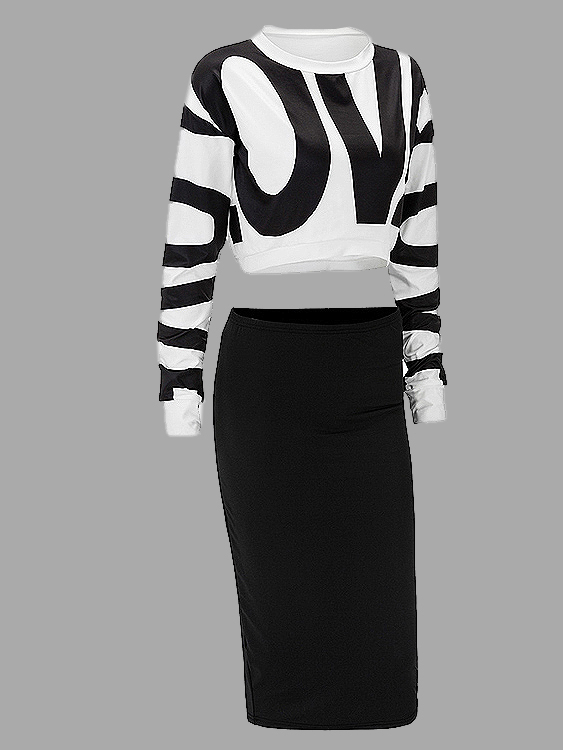 Letter Pattern Crop Top & bodycon Skirt Co-ord