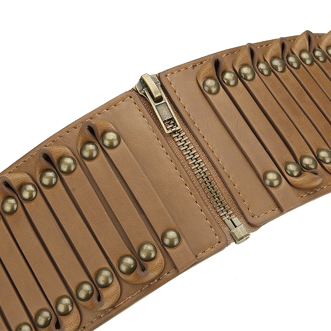 Brown Stretchy Waist Belt With Studs от Yoins.com INT
