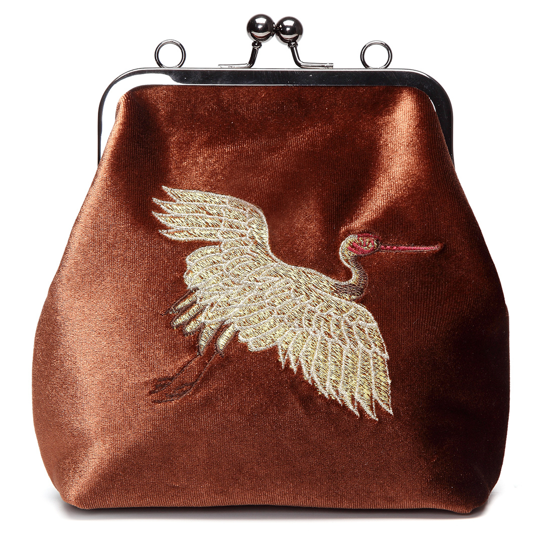 Brown Velvet Animal Embroidery Across Body Bag with Braided Strap
