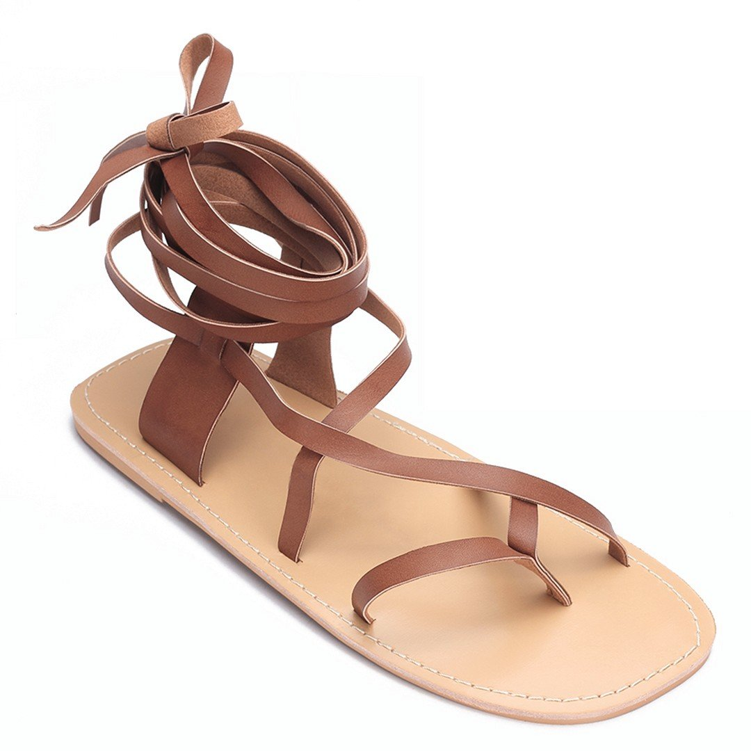 Brown Lace-up Flat Gladiator Sandals